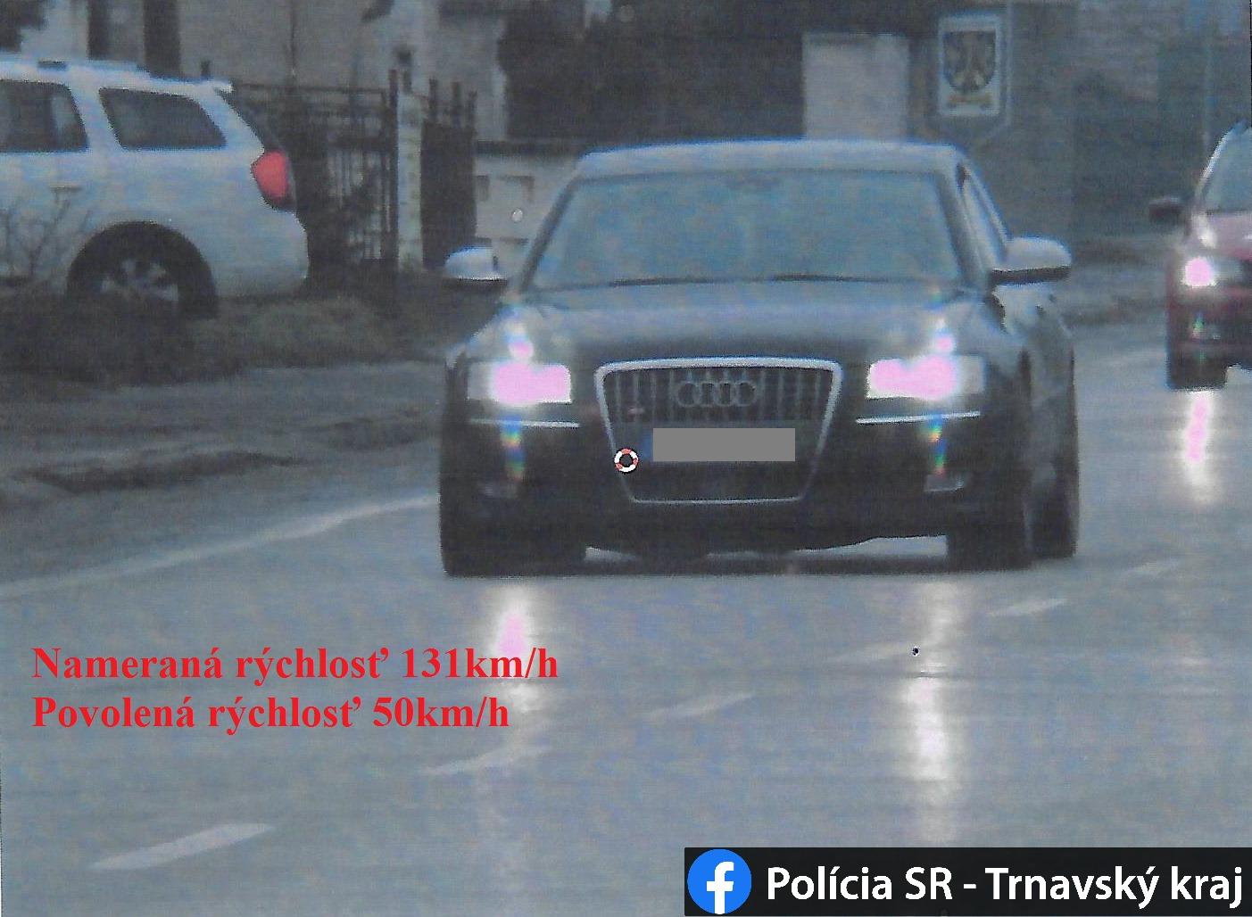 Audi S8 namerali v obci 131 km/h